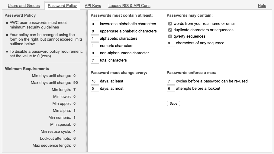 Password Policy Configuration